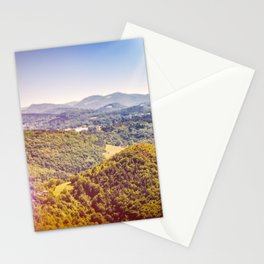 French countryside rolling landscape hill scenic view with bright sunlight Stationery Cards