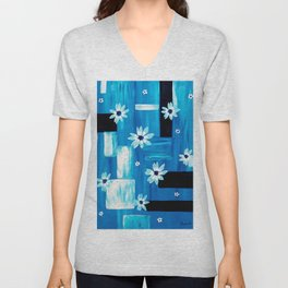 Abstract Daisies Unisex V-Neck
