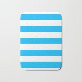 Blue bolt - solid color - white stripes pattern Bath Mat