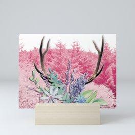 Floral stag antlers Mini Art Print