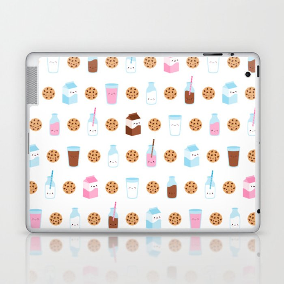 Milk and Cookies Pattern on White Laptop & iPad Skin