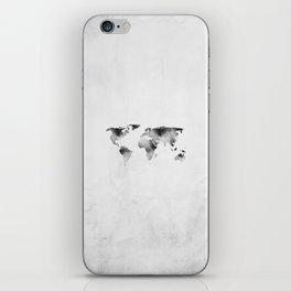 World Map - Hammered Metallic Monochrome iPhone Skin