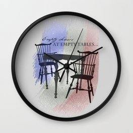 Empty Chairs at Empty Tables Wall Clock
