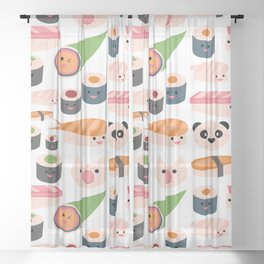 Kawaii sushi white Sheer Curtain