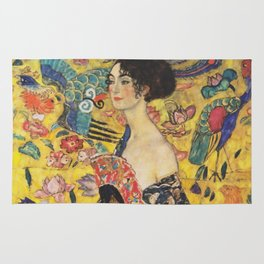 Gustav Klimt Lady With Fan  Art Nouveau Painting Rug