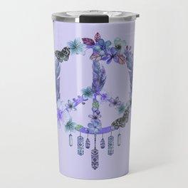 Purple Watercolor Peace Symbol Floral Dreamcatcher Travel Mug