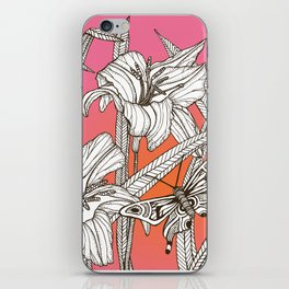 Daylilies on Pink and Orange Background iPhone Skin