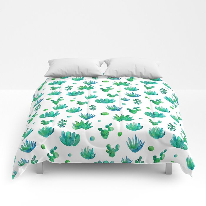 Watercolor Succulents Comforters