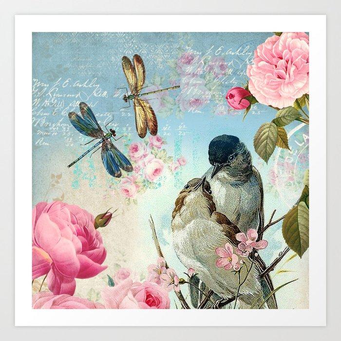 Dragonflies & bird Art Print