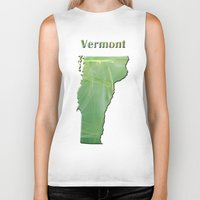 vermont Biker Tanks featuring Vermont Map by Roger Wedegis