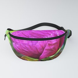Plum Crazy Purple Hibiscus Detail with Purple Foliage Fanny Pack