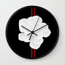 White Succulent On Black #decor #society6 #buyart Wall Clock