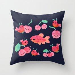 Cherry shrimp and Cherry barb Throw Pillow