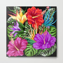 Tropical Flora Summer Mood Pattern Metal Print