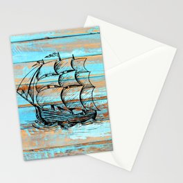 Nautical Vintage Pirate Naval Sail Ship Stationery Cards