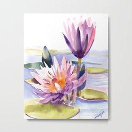Water Lily,  Lotus, Asian Ink drawing Zen brush pink purple flower Metal Print