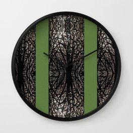 Gothic tree striped pattern green Wall Clock