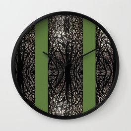 Gothic tree striped pattern green Wall Clock