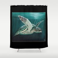"biology Shower Curtains featuring ""Moonlit"" - Green Sea Turtle, Acrylic by Amber Marine"