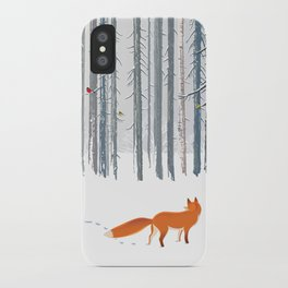 Fox in the white snow winter forest illustration iPhone Case