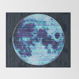 Stripey Blue Moon Throw Blanket