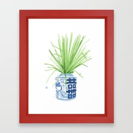 Ginger Jar + Fan Palm Framed Art Print