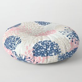 Floral Mixed Blooms, Blush Pink, Navy Blue, Gray, Beige Floor Pillow