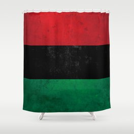 Distressed Afro-American / Pan-African / UNIA flag Shower Curtain