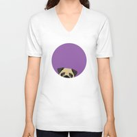 pug V-neck T-shirts featuring Pug by Anne Was Here