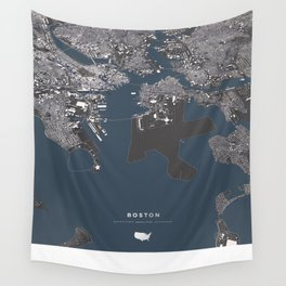 Bosston - City Map II Wall Tapestry