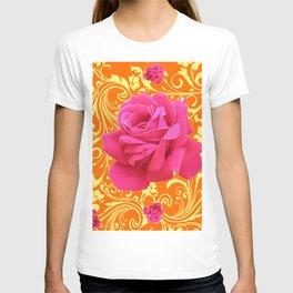 PINK ORANGE  ROSE SCROLLS GARDEN ART PATTERN T-shirt