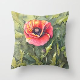 Poppy Single Watercolor Throw Pillow