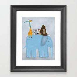the big blue elephant Framed Art Print