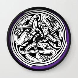 Celtic Art - Dog Triskele - on Purple Wall Clock