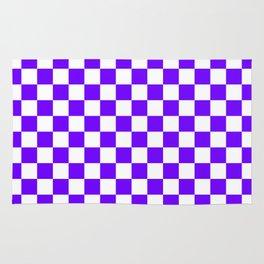White and Indigo Violet Checkerboard Rug