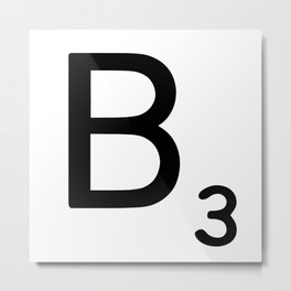 Letter B - Custom Scrabble Letter Wall Art - Scrabble B Metal Print
