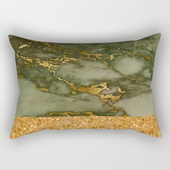Green Marble with Gold and Glitter Rectangular Pillow