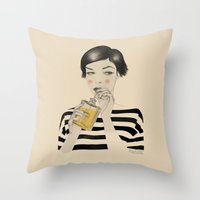 drink Throw Pillows featuring Drink Responsibly by Roberta Zeta
