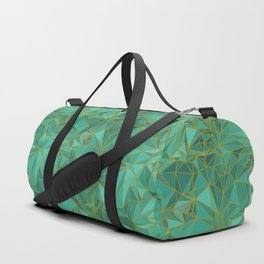 Triangular Structures Turquoise Geometric Facets with Gold Lines Duffle Bag