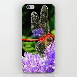 Red Dragonfly on Violet Purple Flowers iPhone Skin