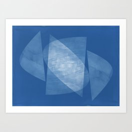 Blue Geometric Abstract Mid Century Modern Art Print