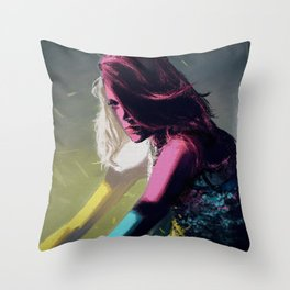 Stained Glass Girl Throw Pillow