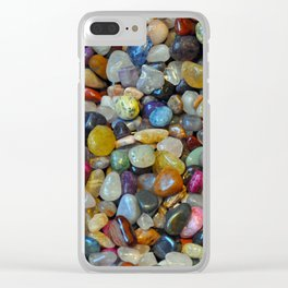 Colorful shiny pebbles Clear iPhone Case