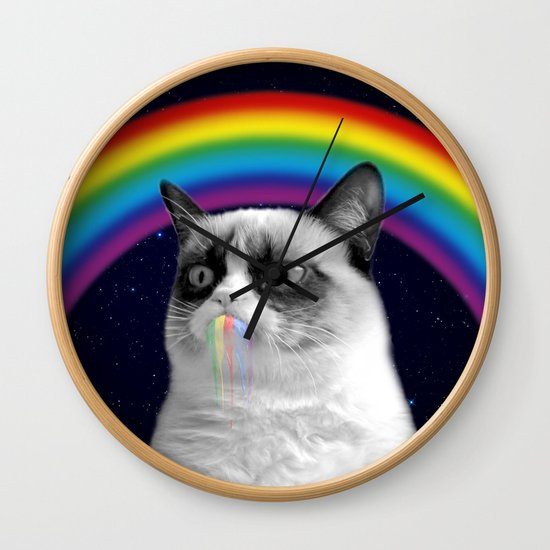 cat all over galaxy rainbow puke Space Crazy Cats by famouspaintings
