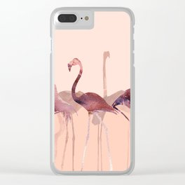 Summer Flamingos Clear iPhone Case