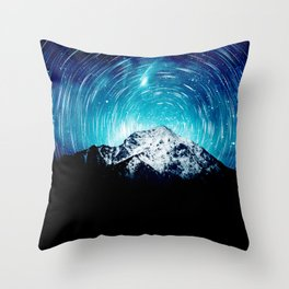 Between the galaxy and the mountain Throw Pillow