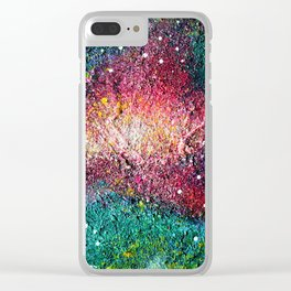 Green Galaxy Clear iPhone Case