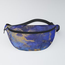 Gold And Blue Indigo Malachite Marble Fanny Pack