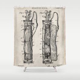 Golf Bag Patent - Caddy Art - Antique Shower Curtain