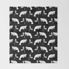 Manatee linocut black and white minimal pattern nature art manatees Throw Blanket